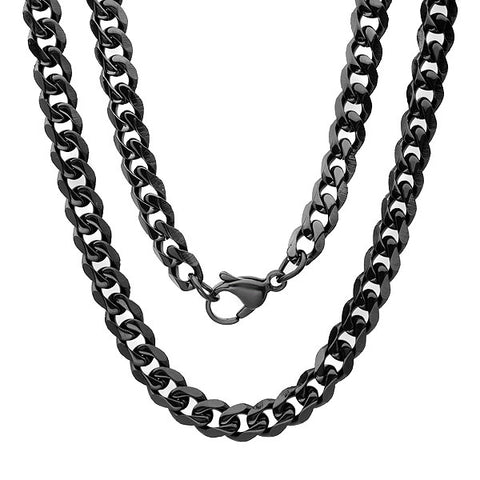 Men's Stainless Steel Cuban Black Chain Necklace 24""