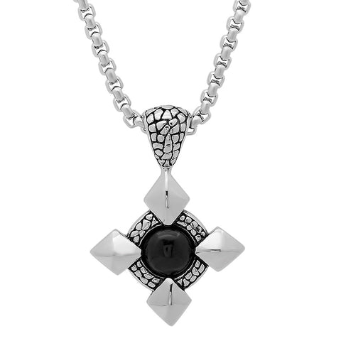 Stainless Steel Necklace with Black Stone Design