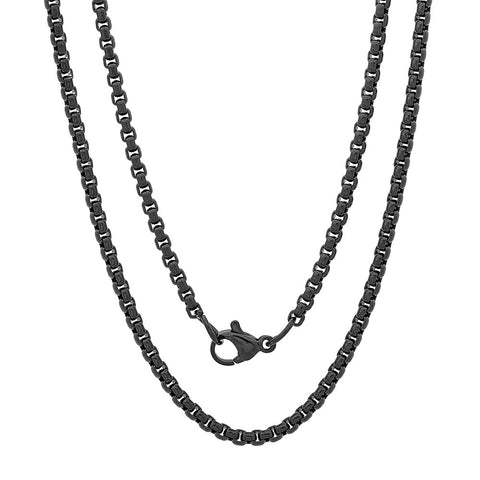 Black IP Box Chain Necklace - 30""