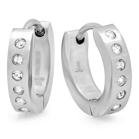 Stainless Steel Huggie Earrings With Simulated Diamonds
