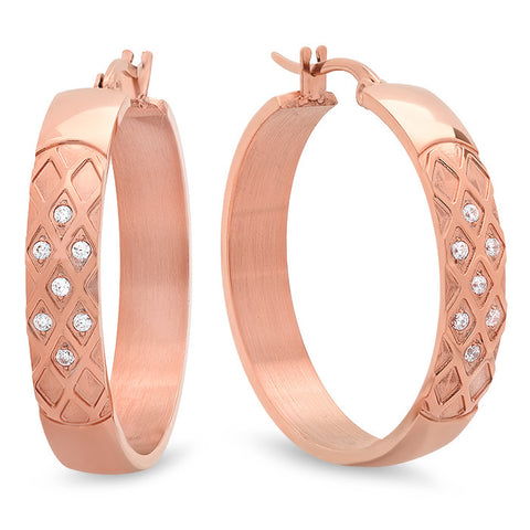Ladies 18 KT Rose Gold Plated Hoops w/Simulated Diamonds and X Accent
