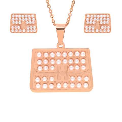 18k Rose Gold Plated Earring and Pendant Set