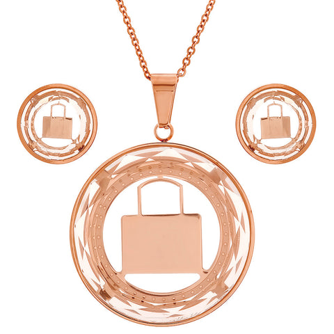 18kt Rose Gold Plated Stainless Steel Earring/Pendant Set with Lock Design