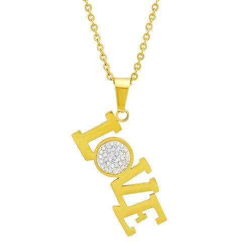 18kt Gold Plated Stainless Steel Pendant With Love Design and CZ Stones