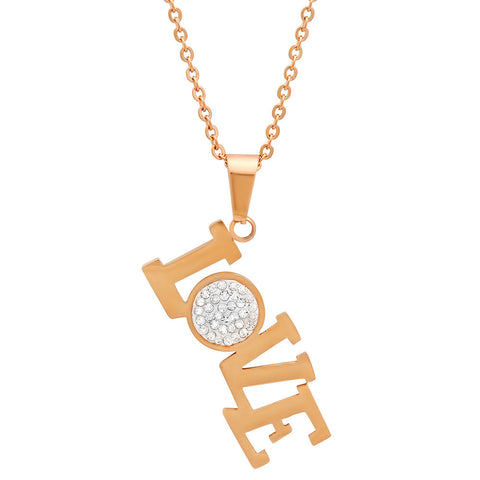 18kt Rose Gold Plated Stainless Steel Pendant With Love Design and CZ Stones