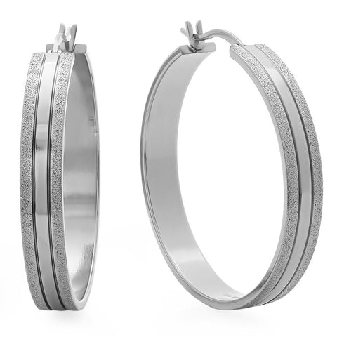 Stainless Steel Glittery Hoop Earrings 40mm