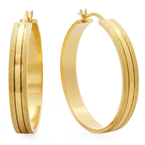 18 KT Gold Plated Glittery Hoop Earrings 40mm