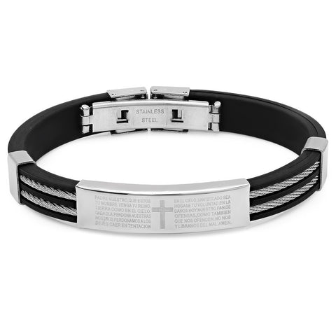 Steeltime Black Rubber Bracelet w/lords prayer accent
