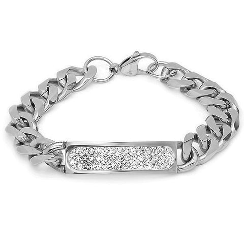 Stainless Steel ID Bracelet with Simulated Diamonds