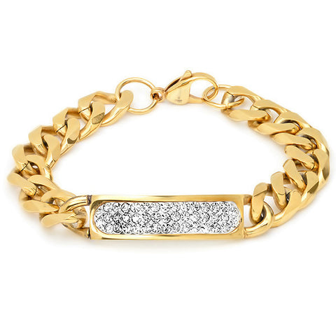 18 KT Gold Plated ID Bracelet with Simulated Diamonds
