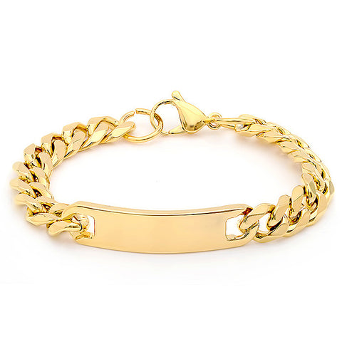 Men's 18kt Gold Plated Stainless Steel Cuban Chain Bracelet