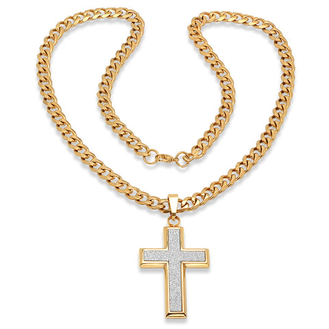 Steeltime Men's 18k Gold Plated White Stardust Cross Pendant Cuban Chain Necklace