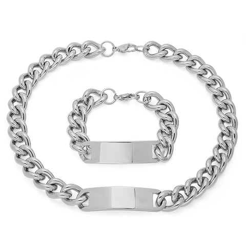 Men's Stainless Steel Necklace/ Bracelet Set