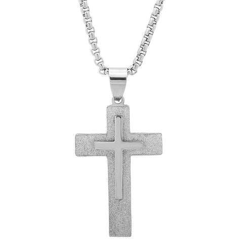 Men's Stainless Steel Necklace with Two-Tone Crucifix Pendant