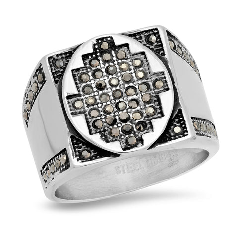 Men's Stainless Steel Black CZ Accented Ring