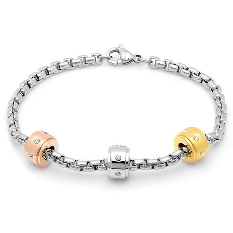 Ladies Stainless Steel Bracelet with Tricolor and CZ Charms