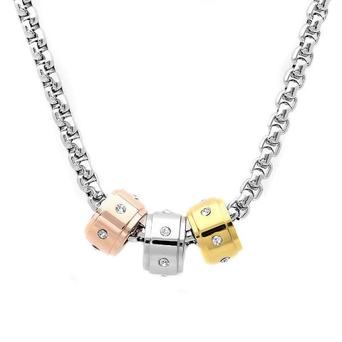 Ladies Stainless Steel Necklace with Tricolor and CZ Charms