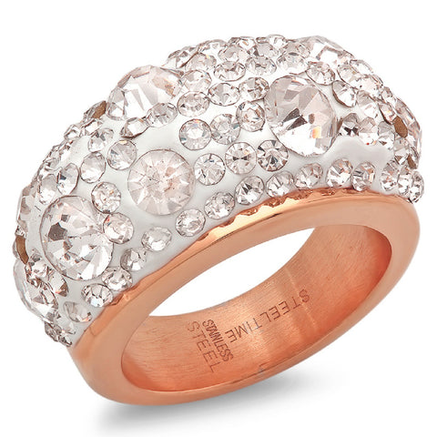 Ladies 18kt Rose Gold Plated Stainless Steel Ring with Simulated Diamonds
