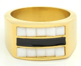 Ladies Stainless Steel Ring 18kt Gold Plated With Mother Of Pearl