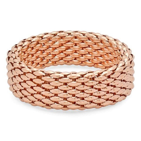 Ladies 18 KT Rose Gold Mesh Bracelet