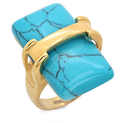 Ladies 18kt Gold Plated Stainless Steel Turquoise Ring