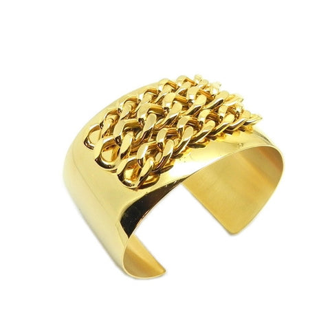 Ladies 18 Kt Gold Plated Cuff Bracelet with Braided Links