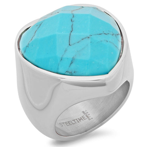 Ladies Stainless Steel Heart Shaped Ring with Genuine Turquoise
