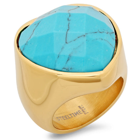 Ladies 18 KT Gold Plated Heart Ring with Genuine Turquoise