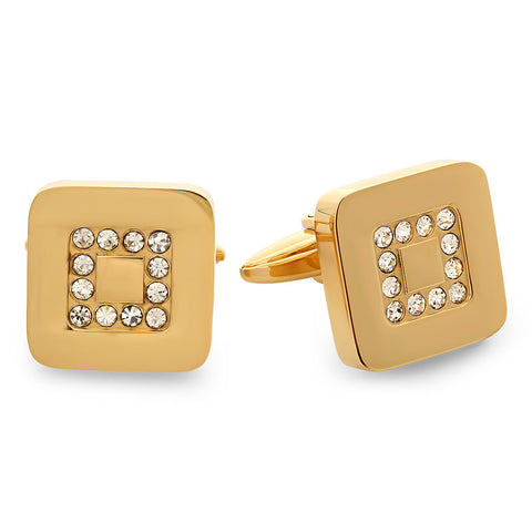 18 KT Gold Plated Cufflinks with Simulated Diamonds