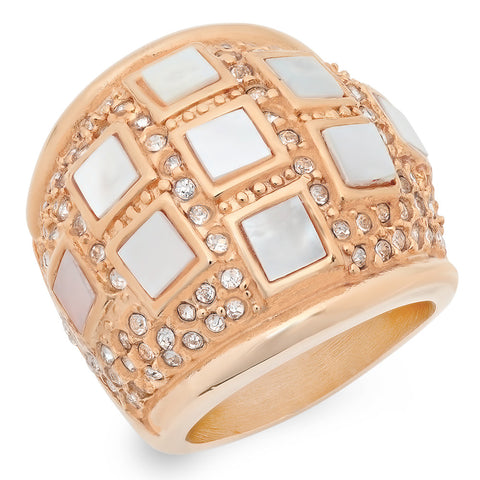 Ladies 18kt Rose Gold Plated Stainless Steel Mother of Pearl Ring