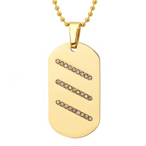 Men's 18kt Gold Plated Stainless Steel Dog Tag Pendant