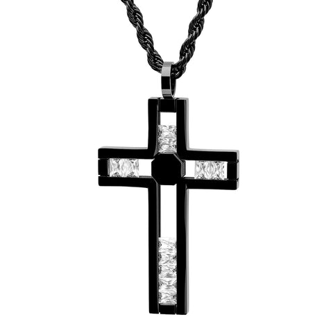 Men's Black IP Stainless Steel Cross Pendant