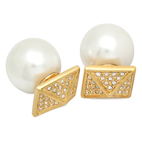 Double Sided 18k Gold Plated Simulated Diamond Pyramid & Pearl Stud