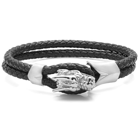 Men's Braided Leather Bracelet with Stainless Steel Dragon Head Design