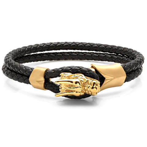 Men's Braided Leather Bracelet with 18KT Gold Plated Stainless Steel Dragon Head Design