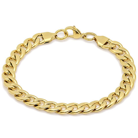 Stainless Steel Basic Link Chain Bracelet 18KT Gold Plated