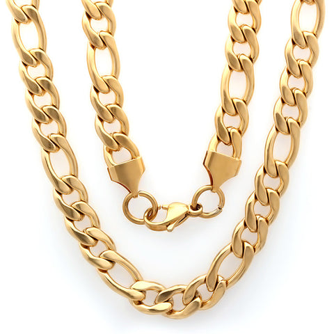 18kt Gold Plated Stainless Steel Figaro Chain Necklace