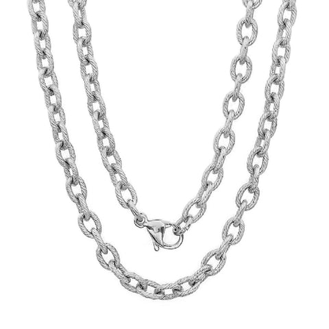 Unisex Linear Textured Stainless Steel 30'' Link Chain