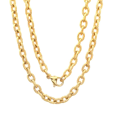 Unisex Linear Textured 18k Gold Plated 30'' Link Chain Necklace