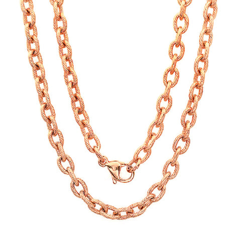 Unisex Linear Textured 18k Rose Gold Plated 30'' Link Chain Necklace