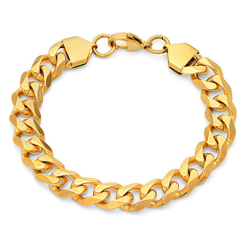 Steeltime 18 KT Gold Plated Curb Chain Bracelet
