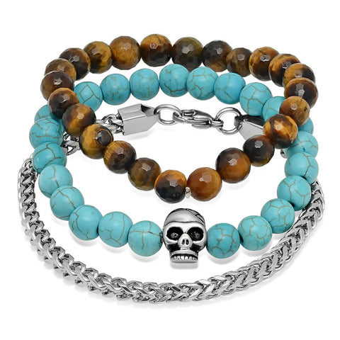 Silvertoned Box Chain, Tiger Eye Beaded, and Turquoise Beaded Skull Bracelets Box Set