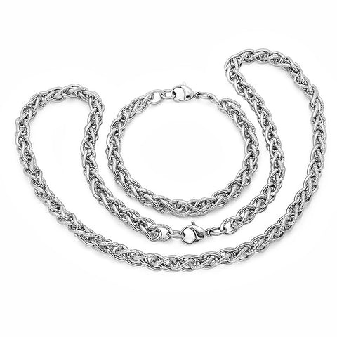 Steeltime Stainless Steel Bracelet/Necklace Set