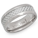 Steeltime Men's Stainless Steel Ring With Carbon Fiber Accents