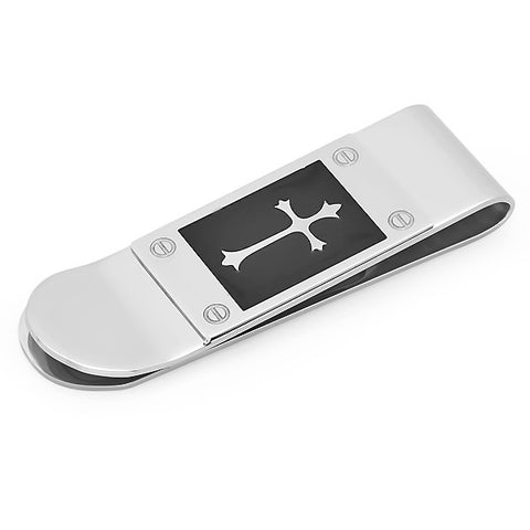 Stainless Steel Black IP Cross or Fleur-de-Lis Money Clip