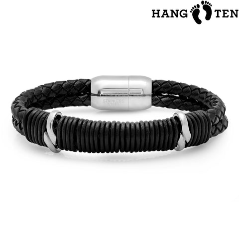 Men's Braided Leather Stainless Steel Bracelet