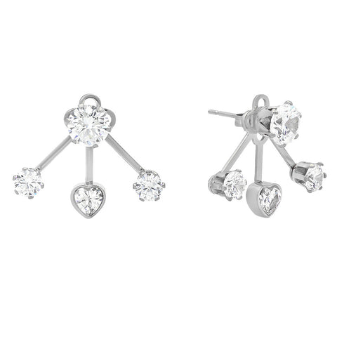 Silvertone Simulated Diamond Earring Jacket with Heart Accent