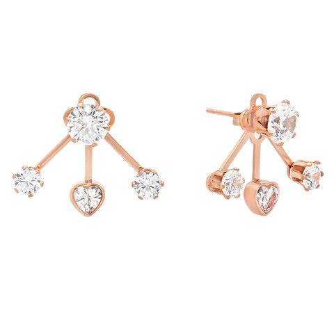 18k Rose Gold Plated Simulated Diamond Earring Jacket with Heart Accent