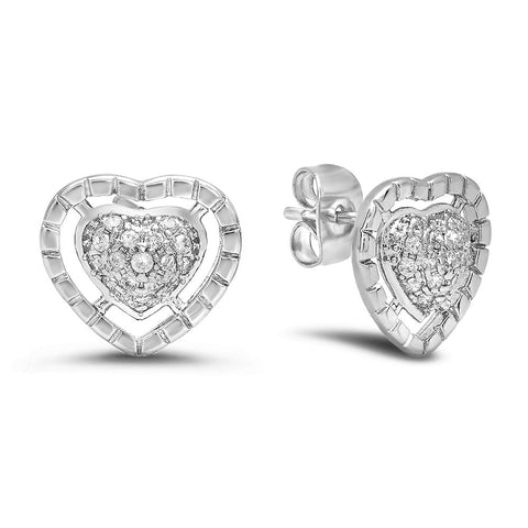 18k White Gold Plated Simulated Diamond Brass Heart Stud Earrings