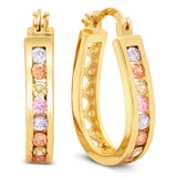 Ladies 18k white gold plated multicolored hoop earrings